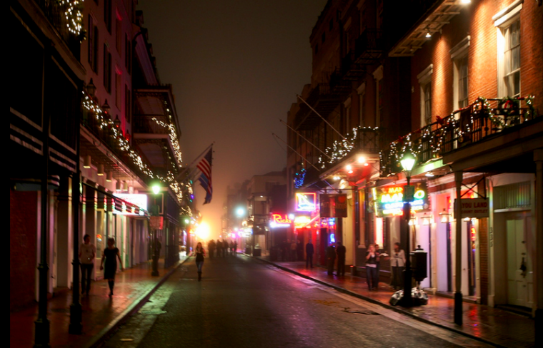 Bourbon Street at Christmas, shop local